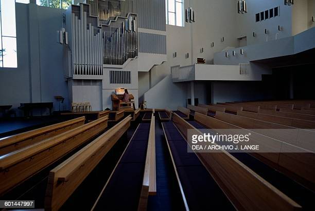 Interior of the Church of the Cross designed by Alvar Aalto Lahti Finland 20th century