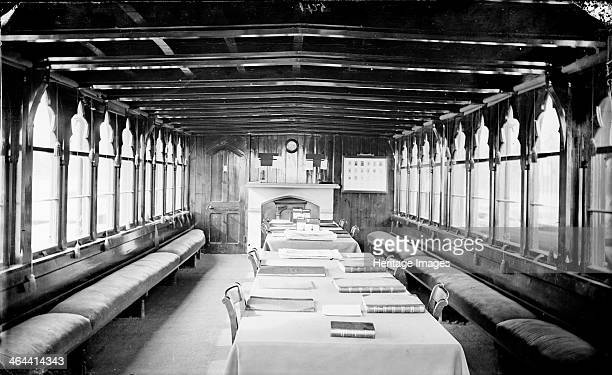 Interior of the College Barge Christ Church College Oxford Oxfordshire c1860c1922 showing benches and shaped windows running along the length of the...