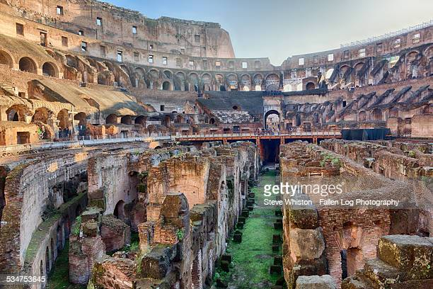 interior of the colosseum, rome, italy - colosseum stock pictures, royalty-free photos & images