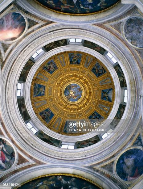 Interior of the Dome of Chigi chapel, decorated the Creation of the World, mosaic designed by Raphael , Santa Maria del Popolo, Rome, Lazio. Italy,...