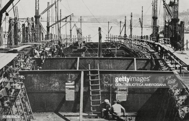Interior of the dreadnought Caracciolo of the Italian Royal Navy construction phase on March 31 Castellammare di Stabia Italy from L'Illustrazione...