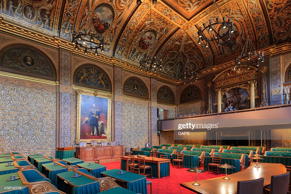 interior of the Dutch First Chamber : Stock Photo