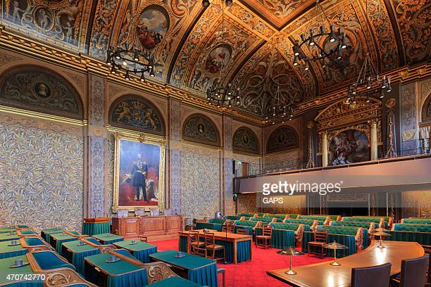 interior of the dutch first chamber - binnenhof stock photos and pictures