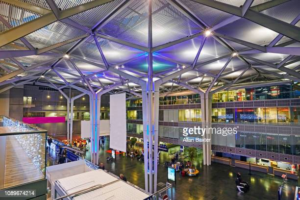 Interior of the Euro airport in Basel illuminated at dusk