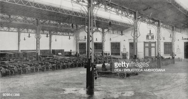Interior of the Fiat garage in Corso Sempione Milan Italy from L'Illustrazione Italiana Year XLI No 19 May 10 1914