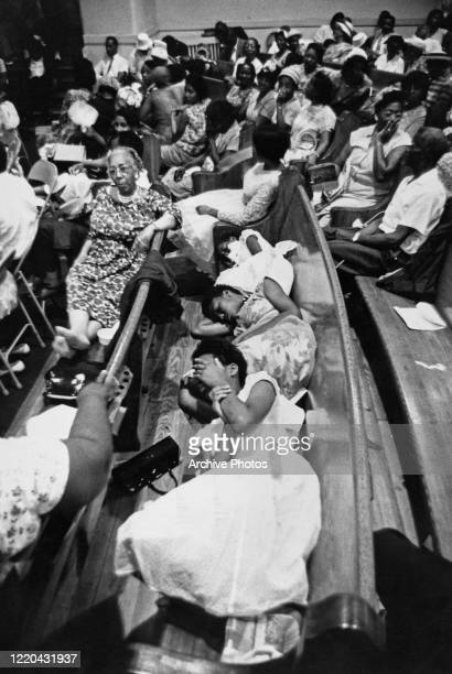 Interior of the First Baptist Church, where passengers on the Freedom Ride have taken refuge from the violence that met them at the Greyhound Bus...