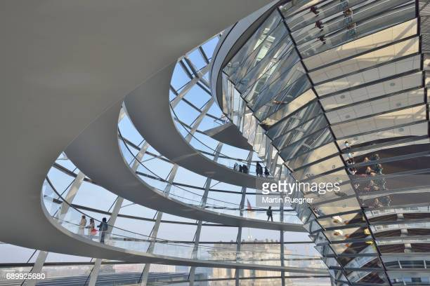 Interior of the glass dome of the Reichstag.