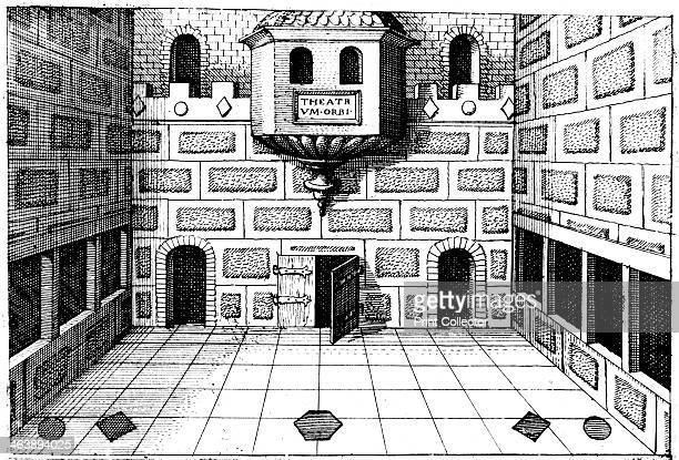 Interior of the Globe Theatre Bankside London 16171619 Stage of the second Globe built on the foundations and in the same style as the first...
