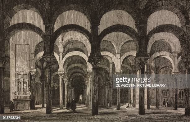 Interior of the Grand Mosque of Cordoba Spain engraving by Lemaitre from Espagne by Joseph Lavallee and Adolphe Gueroult L'Univers pittoresque...