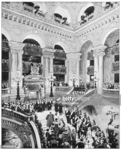 Interior of the Grand Opera House Paris late 19th century A state occasion at the Palais Garnier inaugurated in 1875 Photograph from Portfolio of...