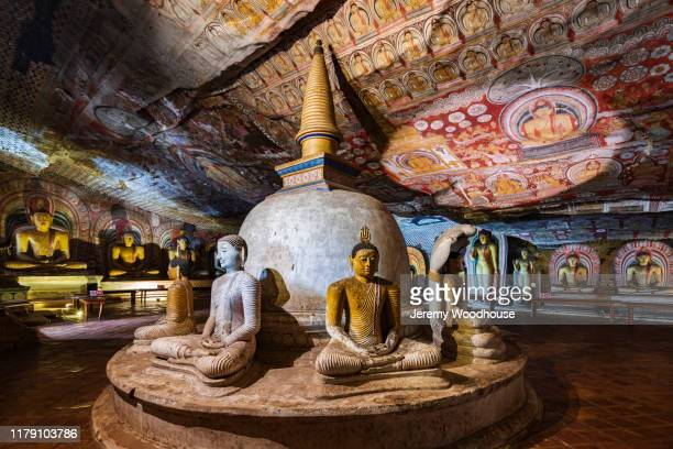 interior of the great cave at dambulla - jeremy chan stock pictures, royalty-free photos & images