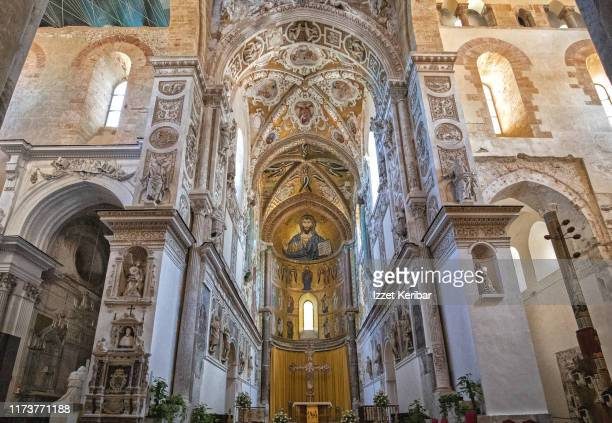 wide angle view cefalu cathedral interior