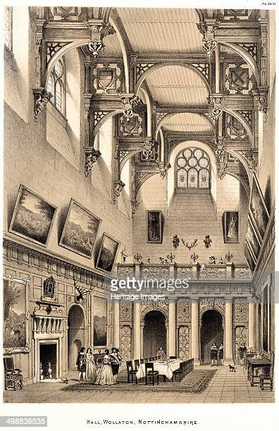 Interior of the Great Hall Wollaton Hall Nottingham Nottinghamshire 1841 Lithograph print taken from Nash's Mansions of England It shows the...