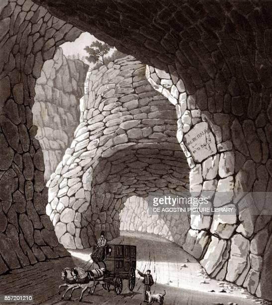 Interior of the Great Simplon tunnel Piedmont Italy copper engraving 201x225 cm from Corografia fisica storica e statistica dell'Italia e delle sue...