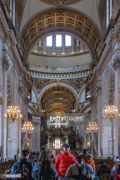 interior of the great st paul's cathedral, london uk - greater london stock pictures, royalty-free photos & images
