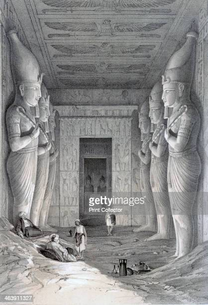 'Interior of the Great Temple AbooSimbel' 19th century View inside the temple of Abu Simbel built by Rameses II showing some of the colossal statues...