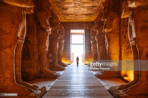 interior of the great temple at abu simbel - pharaoh stock pictures, royalty-free photos & images