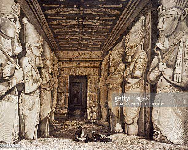 Interior of the Great temple of Ramesses II Abu Simbel engraving from Panorama of Egypt and Nubia by Hector Horeau