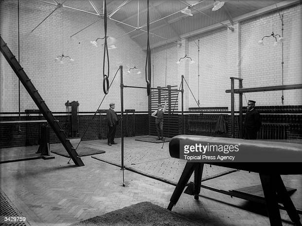 Interior of the gymnasium at the Municipal Institute in Battersea, London.