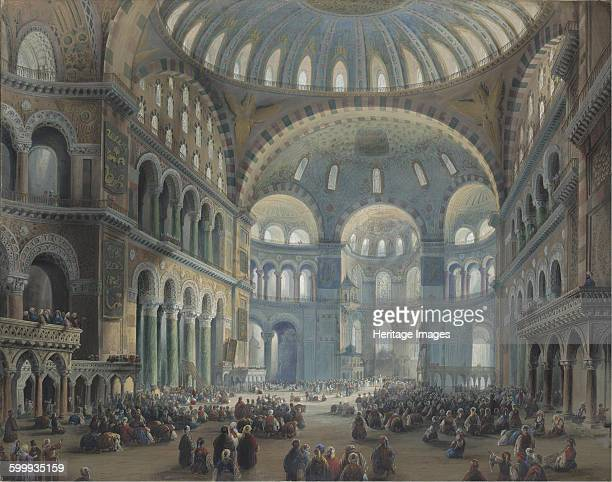 Interior of the Hagia Sophia in Constantinople. Private Collection. Artist : Bossoli, Carlo .