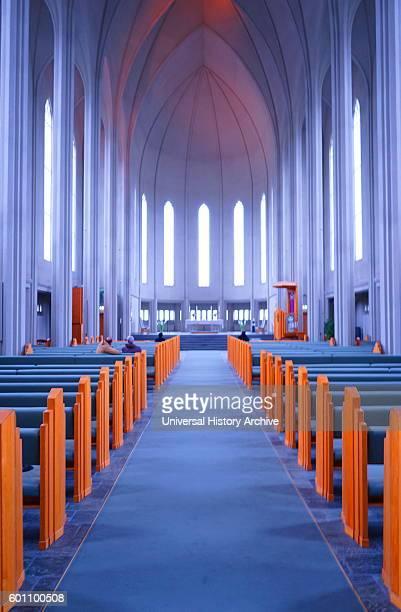 Interior of the Hallgrimskirkja a Lutheran parish church in Reykjavik Iceland Dated 21st Century