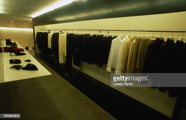interior of the helmut lang men's wear shop in central. - men stockfoto's en -beelden