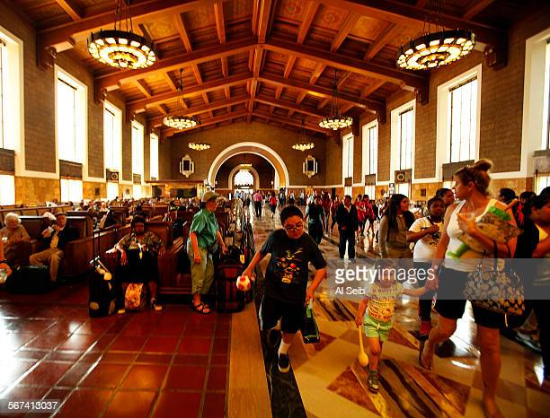 LOS ANGELES CA MAY 02 2014 Interior of the historic Los Angeles Union Station located at 800 N Alameda Street in metro Los Angeles on Friday May 2...