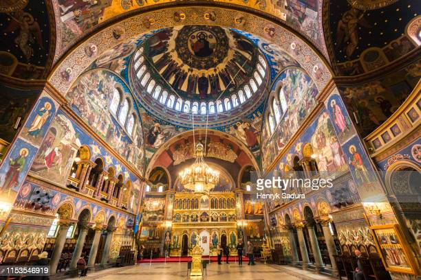 interior of the holy trinity cathedral in sibiu - romania stock pictures, royalty-free photos & images