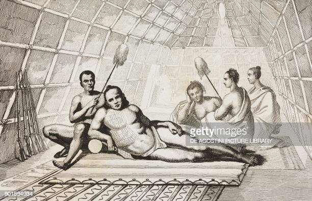 Interior of the house of a Hawaiian chief Hawaii Islands engraving by Danvin and Montant from Oceanie ou Cinquieme partie du Monde Revue Geographique...