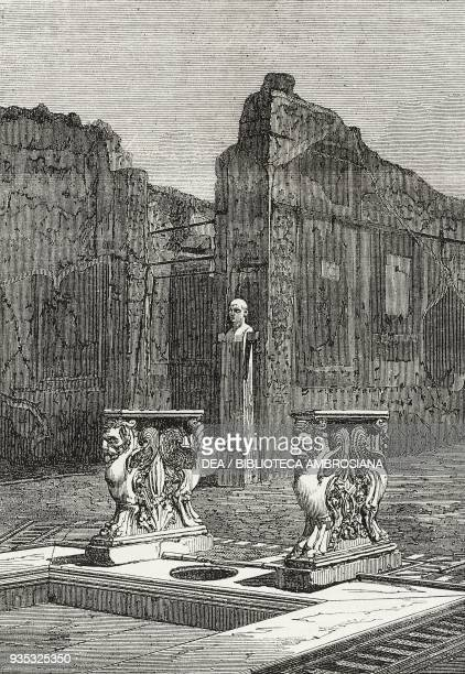 Interior of the house of Cornelius Rufus Pompeii archaeological site Italy illustration from the magazine The Illustrated London News volume XLV...