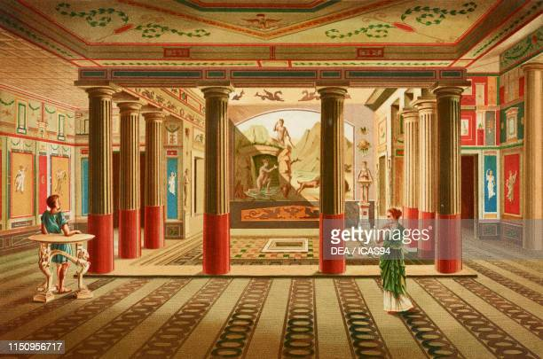 Interior of the House of Sallust Pompeian house 4th century BC Pompeii Campania Italy drawing and chromolithograph by D Capri from Le case ed i...