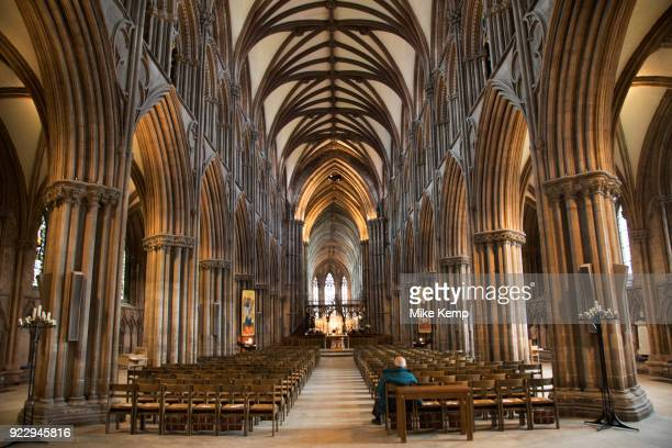Interior of the knave of Lichfield Cathdral in Lichfield, England, United Kingdom. Lichfield Cathedral is situated in Lichfield, Staffordshire. It is...