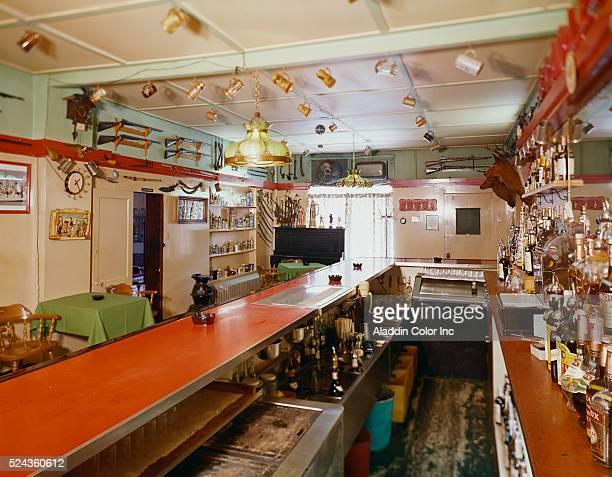 Interior of the knickknackfilled bar at the Bartonsville Hotel | Location Bartonsville Pennsylvania USA