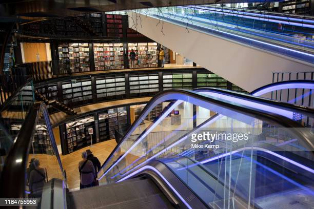 Interior of the Library of Birmingham Birmingham, United Kingdom. The Library of Birmingham is a public library in Birmingham, England. It is...