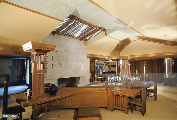Interior of the living room of the Hollyhock House designed by American architect Frank Lloyd Wright Los Angeles California June 7 1991 Completed in...