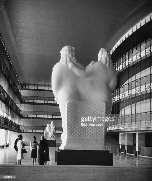 Interior of the lobby of the New York State Theatre at the Lincoln Centre, New York. Designed by architect Philip Johnson in 1964, with sculptures by...