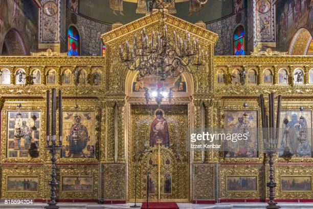 Interior of the magnificent Dyonisios church at Zakynthos town Ionian islands, Greece