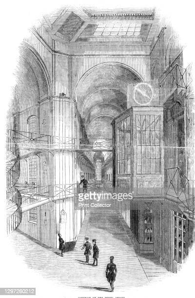 """Interior of the Model Prison, 1842. Inside Pentonville Prison in London, completed in 1842. From """"Illustrated London News"""" Vol I. Artist Unknown."""