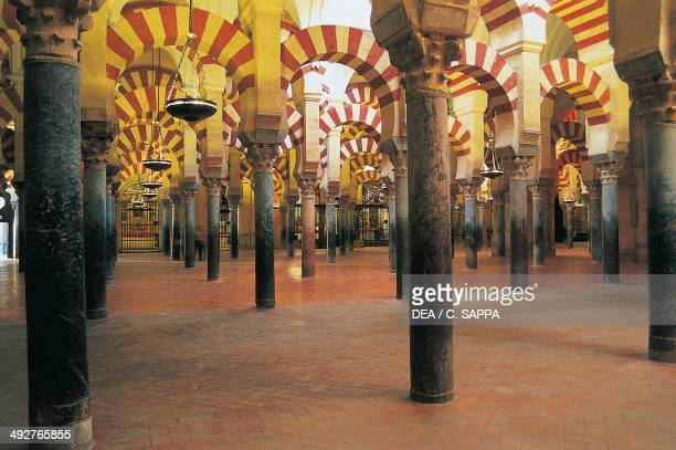 Interior of the mosque Great Mosque of Cordoba today the Cathedral of the Assumption of Our Lady 8th century Cordoba Andalusia Spain