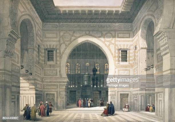 Interior of the Mosque of Sultan Hassan Cairo Egypt 19th century View inside the mosque built by the Mamluks in the 14th century From Egypt and Nubia...