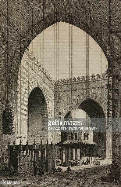 Interior of the MosqueMadrassa of Sultan Hassan Cairo Egypt engraving by Lemaitre from Egypte depuis la conquete des Arabes jusque a la domination...
