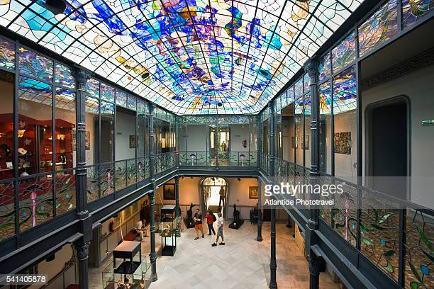 interior of the museo de art nouveau y art deco in casa lis - salamanca stock pictures, royalty-free photos & images