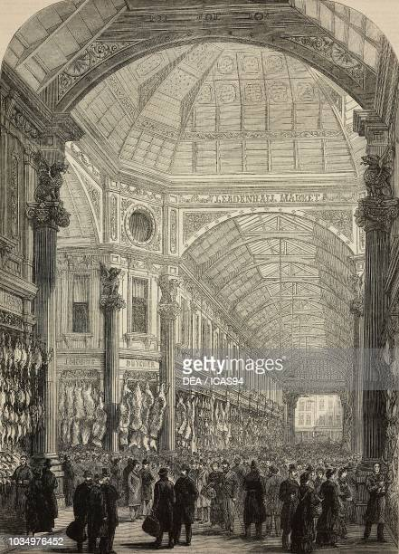 Interior of the new Leadenhall Market London United Kingdom engraving from The Illustrated London News No 2226 December 31 1881