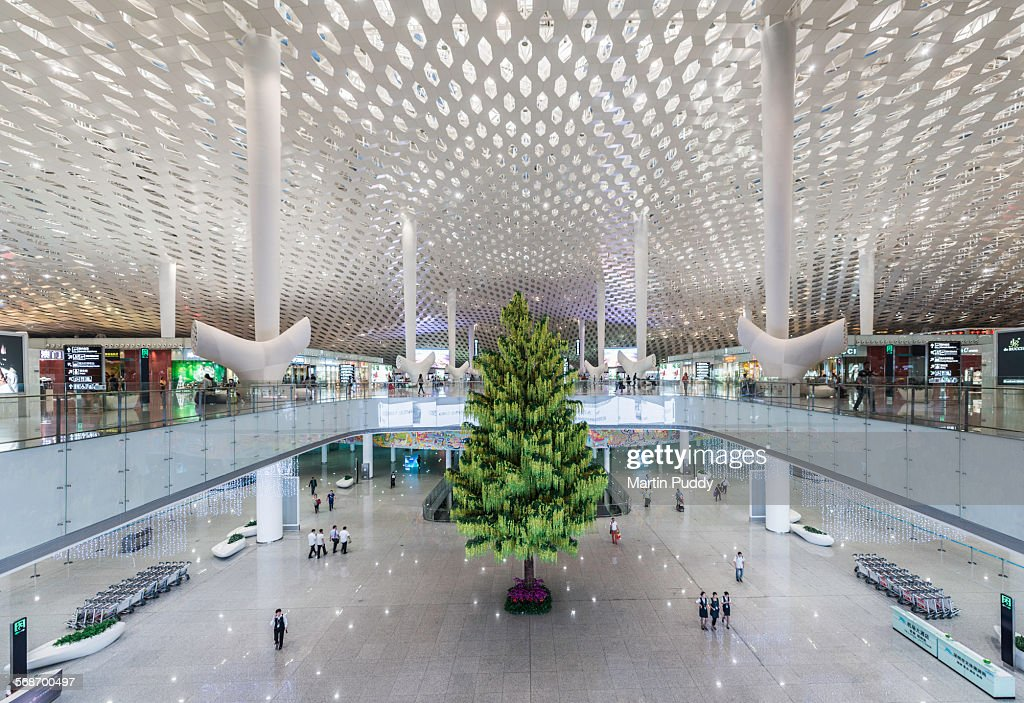Interior of the new Shenzen airport : Stock Photo