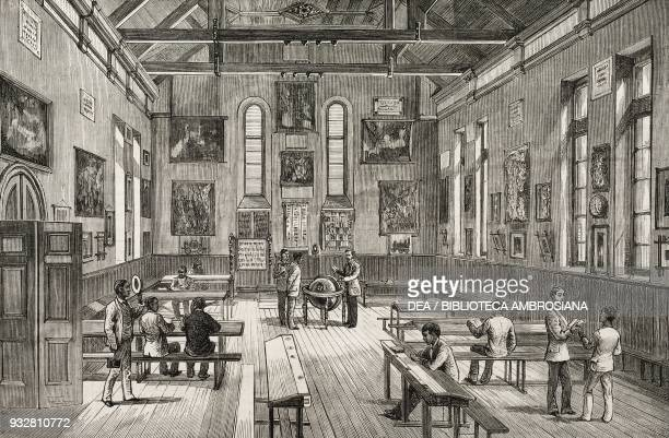 Interior of the Normal School established by the London Missionary Society Antananarivo Madagascar illustration from the magazine The Graphic volume...