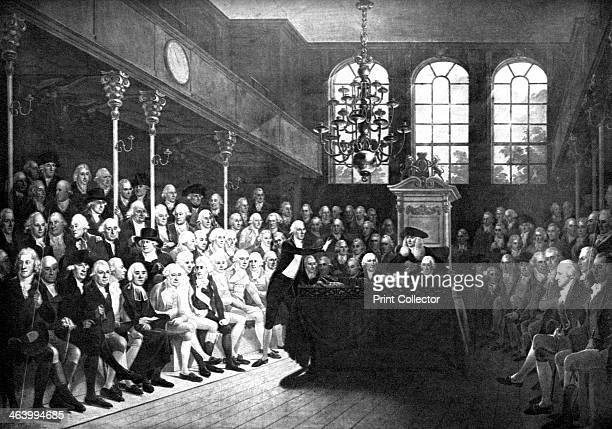 Interior of the old House of Commons, St Stephens Chapel, London, 1793 . William Pitt is addressing the House. Members present include Canning,...