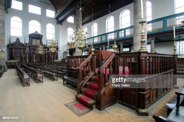 interior of the portuguese sephardic synagogue of amsterdam, the netherlands - portuguese culture stock pictures, royalty-free photos & images