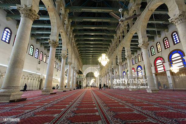 Interior of the prayer hall of Umayyad Mosque or the Great Mosque of Damascus, Damascus, Damascus Governorate, Syria. The triple-aisled prayer hall,...