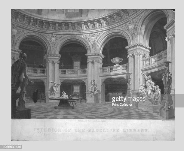 Interior of the Radcliffe Library' 1835 View of the reading room in the Radcliffe Library in Oxford with a plaster cast of the Laocoon Group on the...