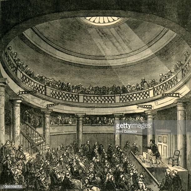 Interior of the Rotunda, Blackfriars Road, in 1820', . German chemist Friedrich Accum lecturing at the Surrey Institution in Southwark, south London....